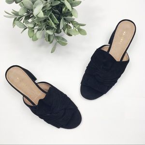 Halogen Shoes - Halogen twist knot block heel sandal slide suede